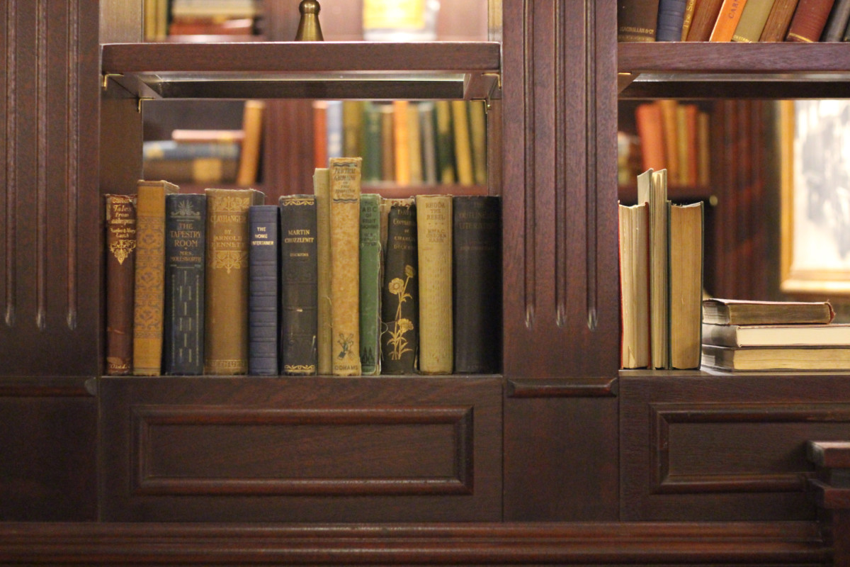 Antique books at Five Points Public House