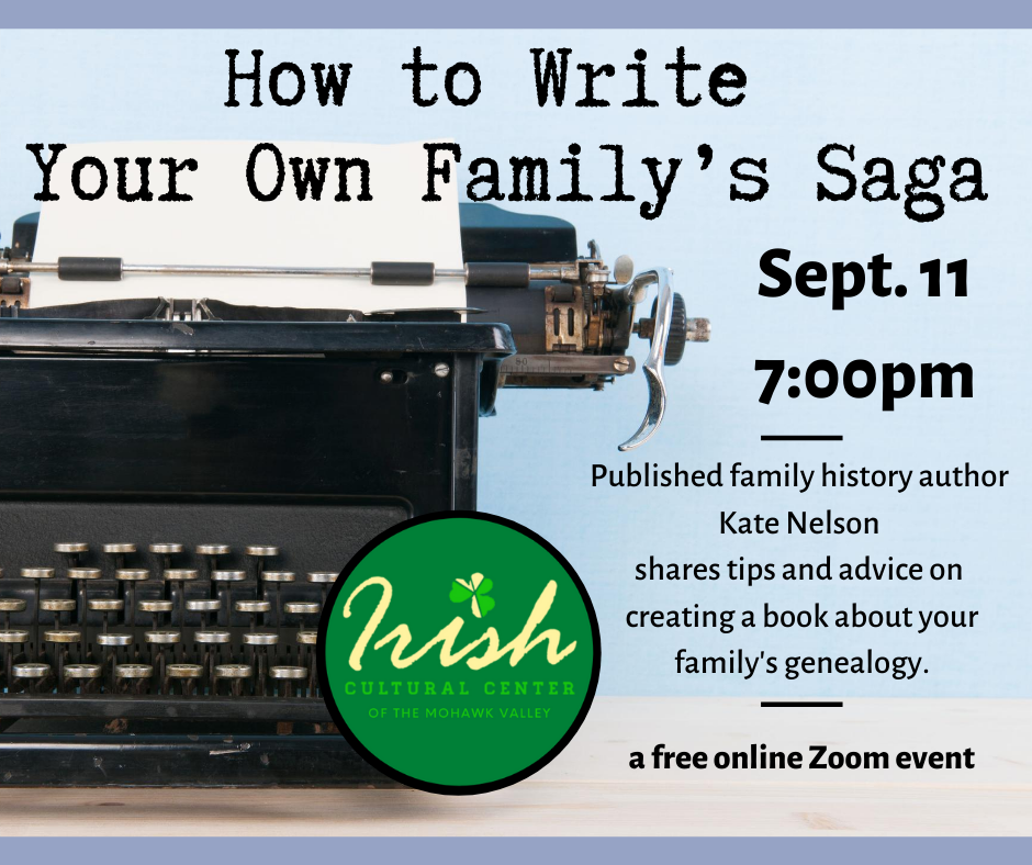 How to Write Your Own Family's Saga, online event Sept. 11, 2020